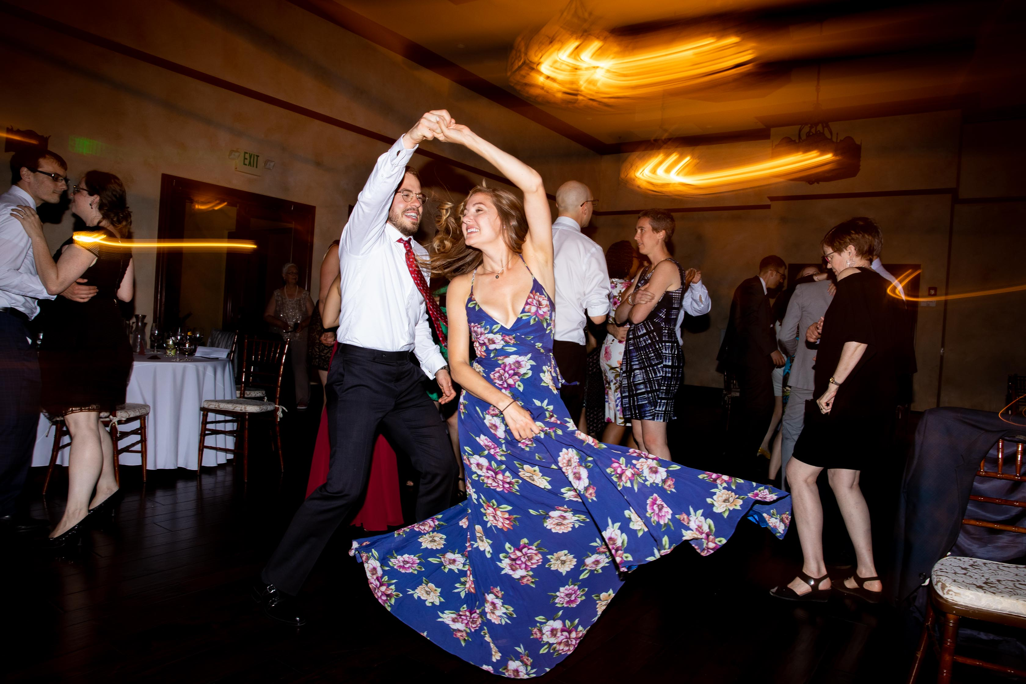 wedding dancing photo girl spinning in flowery dress