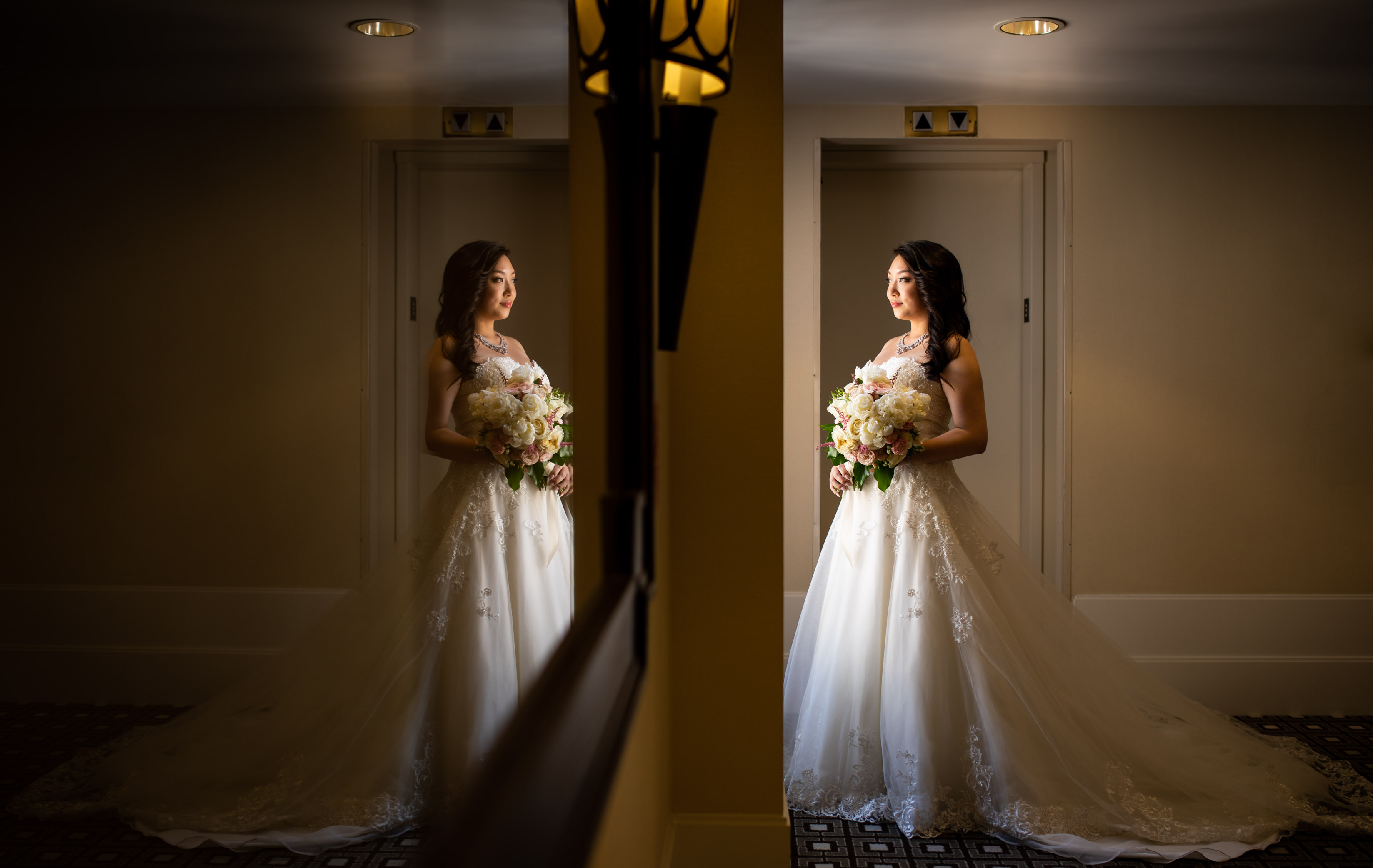 reflection of a bride ready for ceremony
