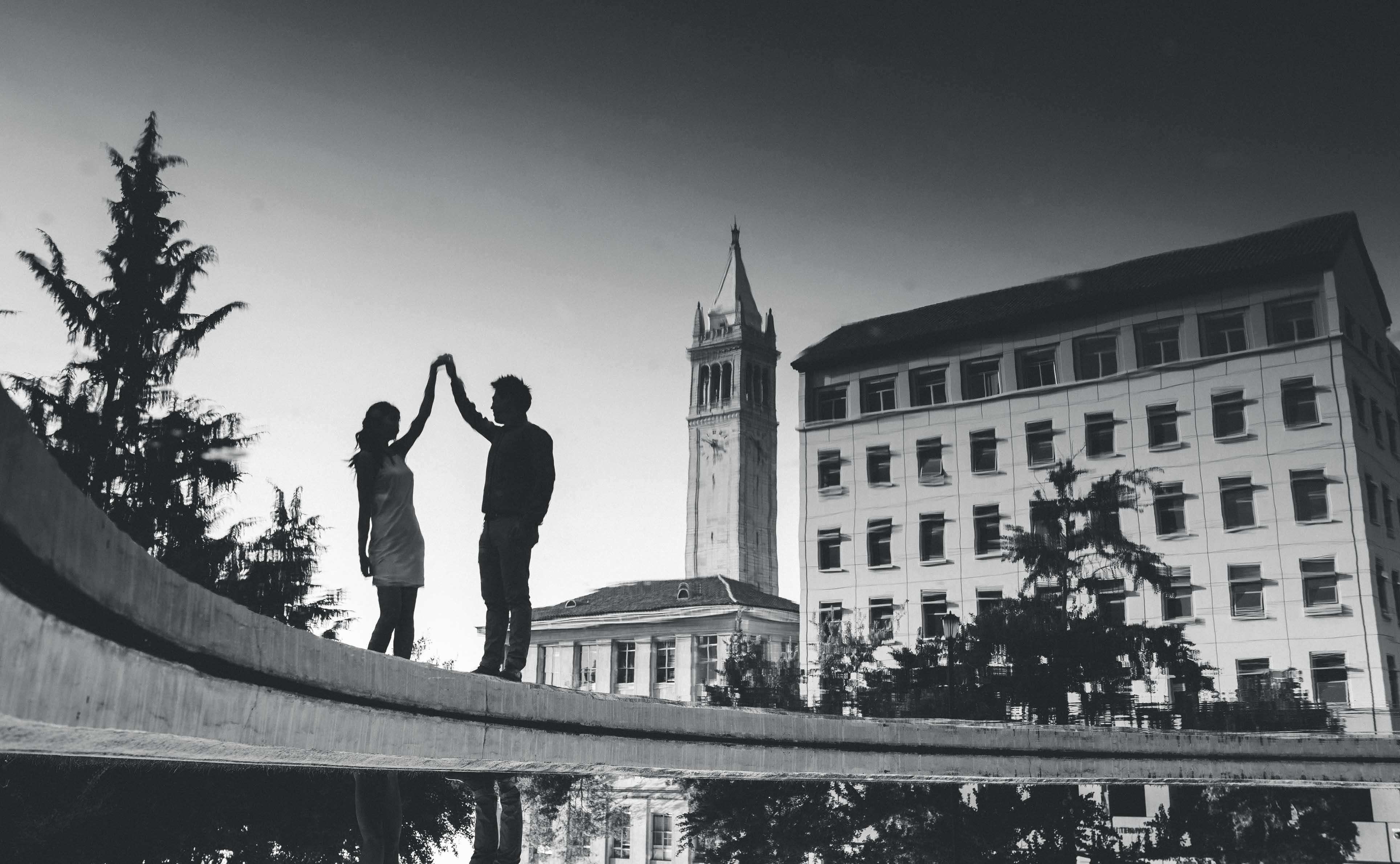 reflection of a dancing couple in uc berkeley