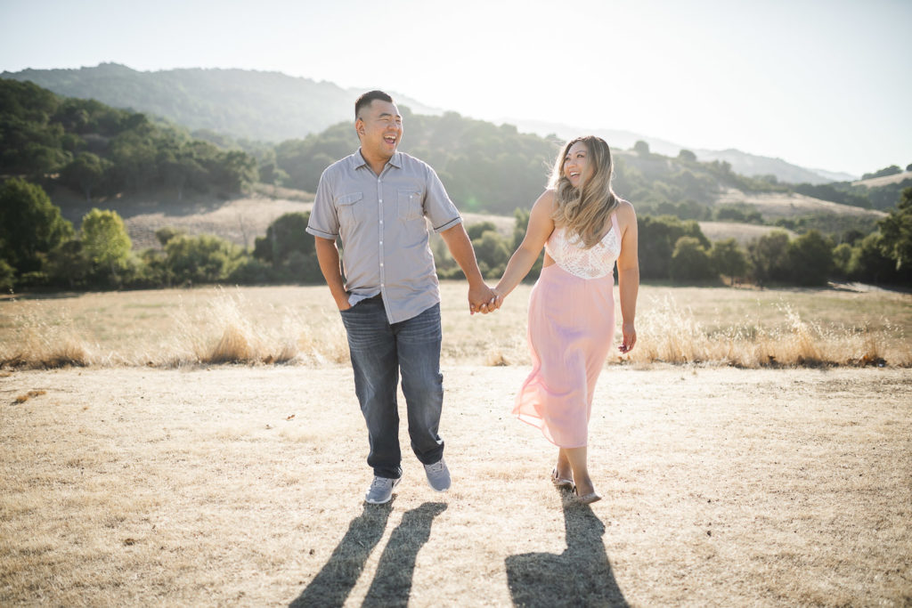 Rancho San Antonio in San Jose engagement shoot with a pomeranian maltese poodle