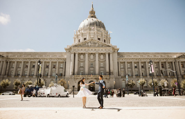 couple married in front of city hall