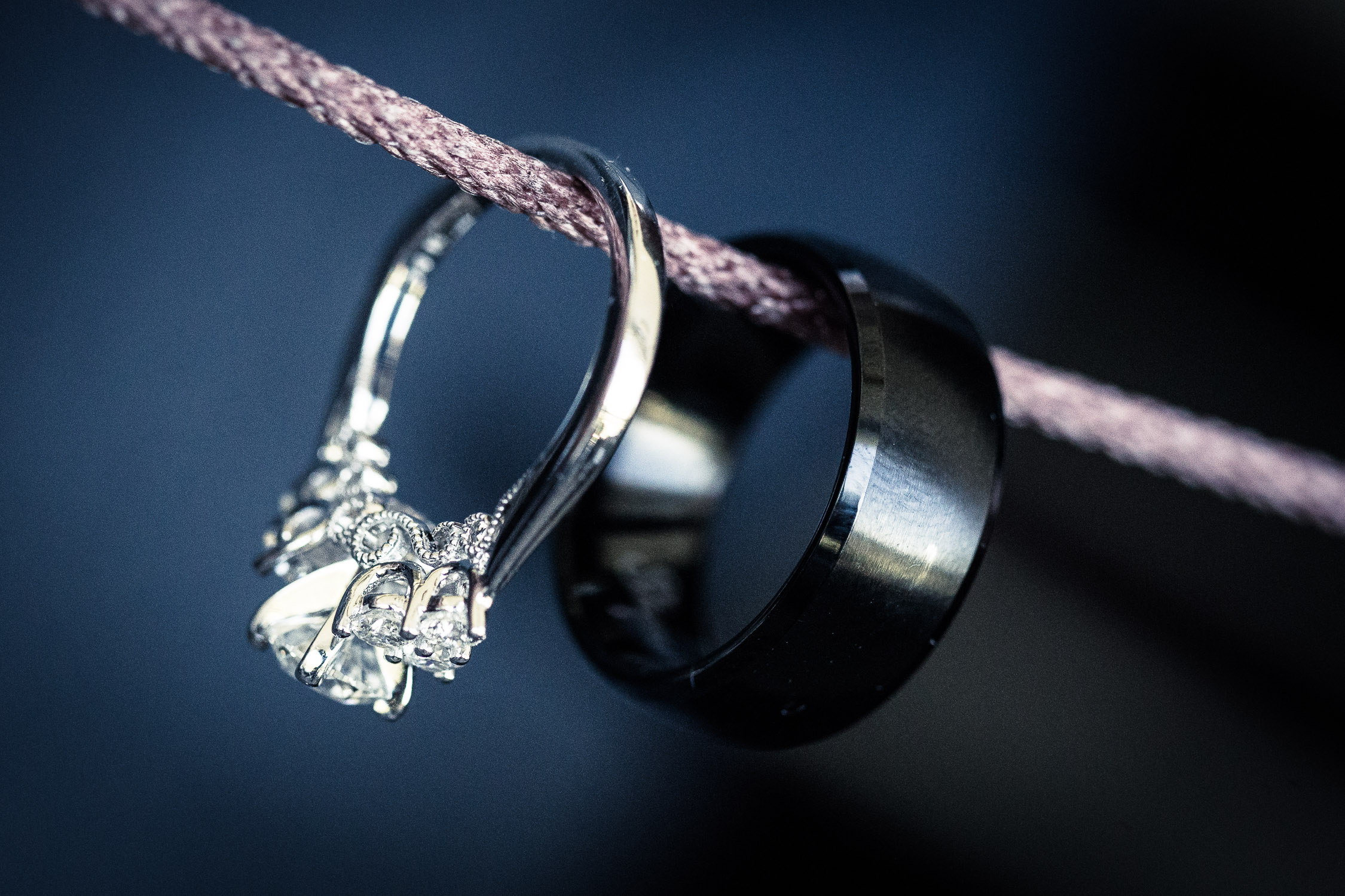 ring shot on a string wedding