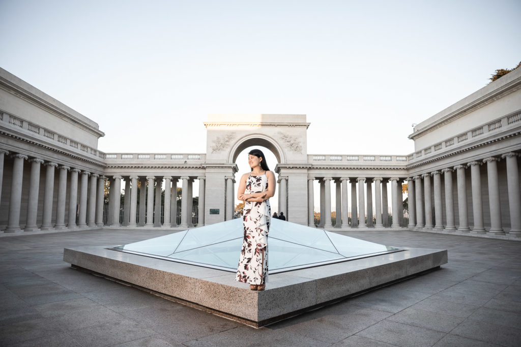 girl in flowery dress at legion of honor