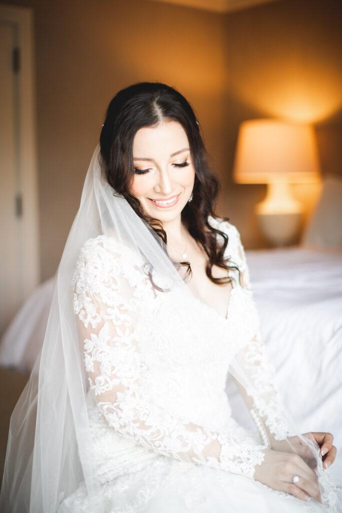 bride in hotel getting ready